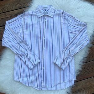 Geoffrey Beene Easy Care Striped Dress Shirt L